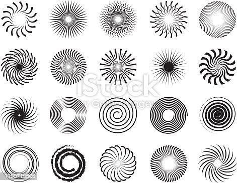 Swirls shapes. Scrolls circle forms spirals and whirlpool symbols abstract vector ornament. Scroll and whirl, motion rotation, spiral whirlpool illustration