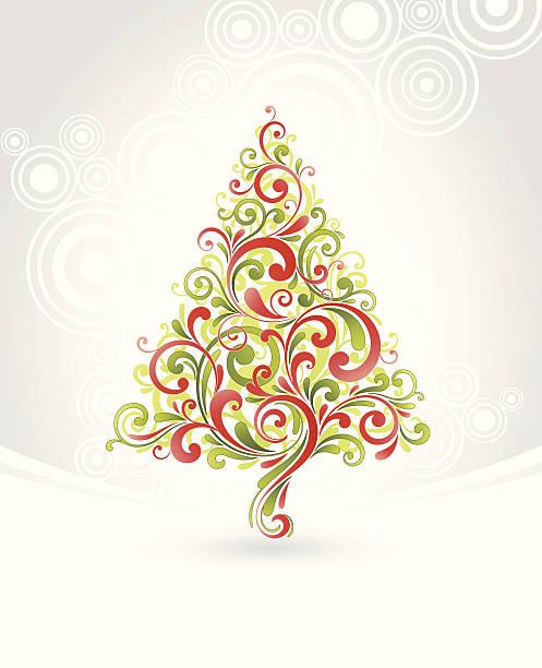 Swirly Christmas Tree vector art illustration