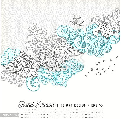 Hand drawn doodle design with swirls,birds and seamless pattern.EPS 10 file with transparencies.File is layered and global colors used.Hi res jpeg without text included.More works like this linked below.
