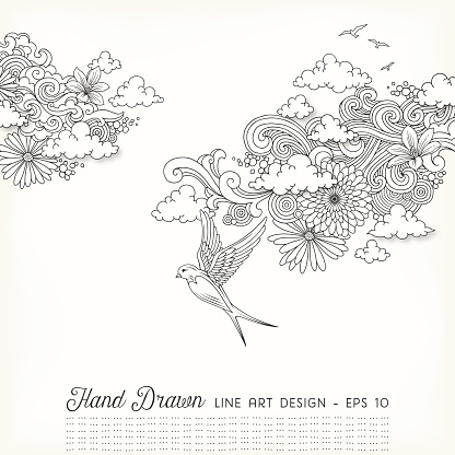 Swirly Floral Line Art Doodles