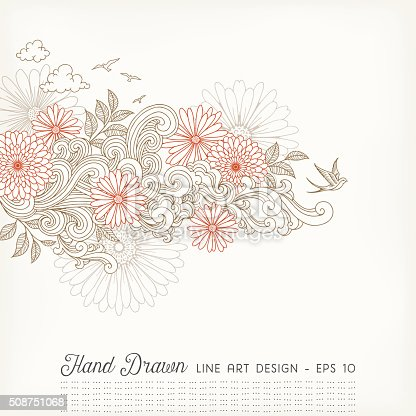 Hand drawn doodle design with flowers,swirls,clouds and birds.EPS 10 file with transparencies.File is layered and global colors used.Hi res jpeg without text included.More works like this linked below.