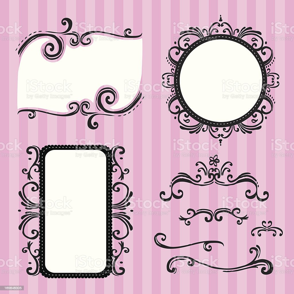swirly frames and design elements vector art illustration