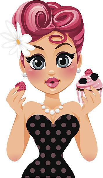 swirly hair cupcake pin up girl - heyheydesigns stock illustrations