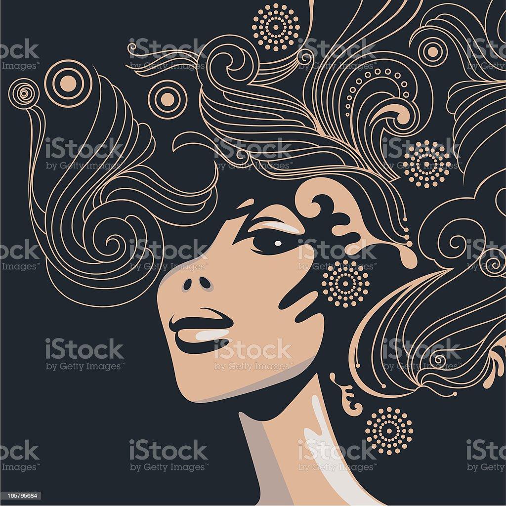 Swirly Fryzura. - Grafika wektorowa royalty-free (Dorosły)