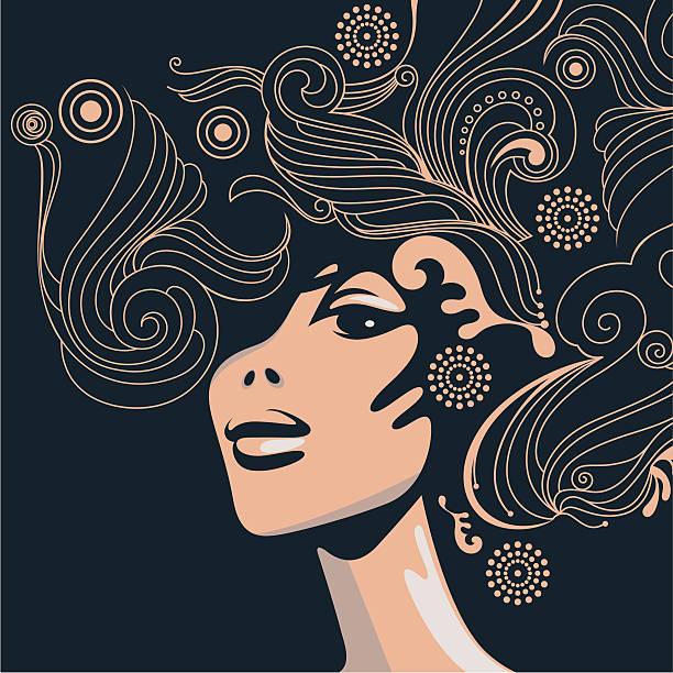 Swirly Fryzura. – artystyczna grafika wektorowa