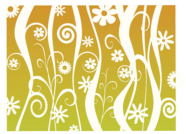 Swirly Retro Plants vector art illustration