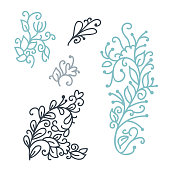 Swirly scandinavian Christmas line curl isolated on white background. Vector monoline flourish vintage for greeting cards. Collection of filigree frame decoration illustration.