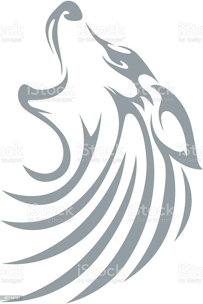 Swish Style Wolf vector art illustration