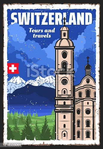Switzerland travel landmark and Swiss Alps vector design of European tourism. Lucerne Jesuit Church with baroque towers, flag of Switzerland, mountains and lake, Alpine meadows and green forest trees