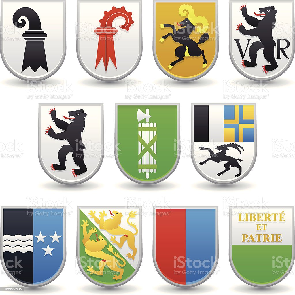 Swiss Canton Coats of Arms vector art illustration