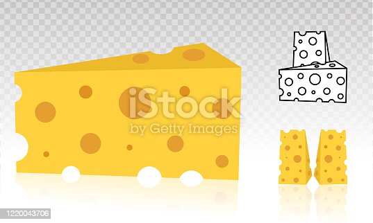 Swiss cheese or Emmental cheese vector flat icon on a transparent background