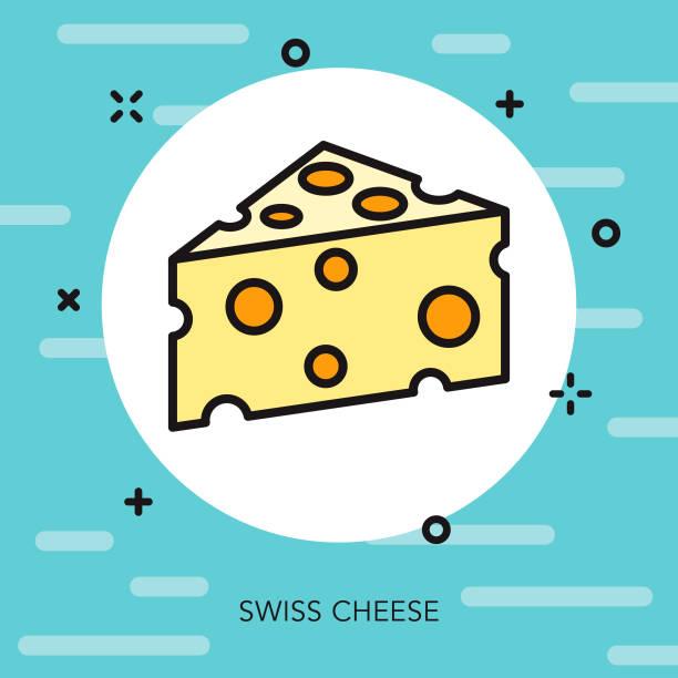 スイスチーズの細い線のスイス連邦共和国のアイコン - 細線のフォント点のイラスト素材/クリップアート素材/マンガ素材/アイコン素材