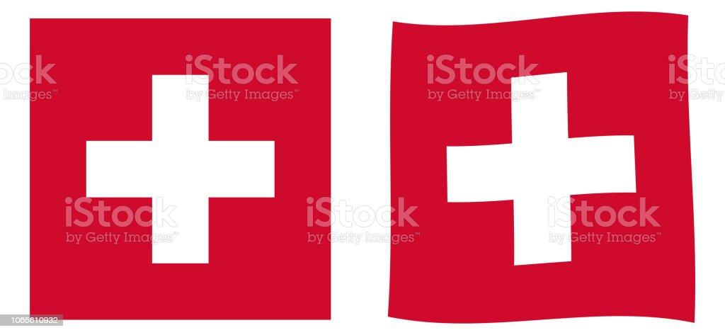 Swiss Confederation (Switzerland) flag. Simple and slightly waving version. vector art illustration