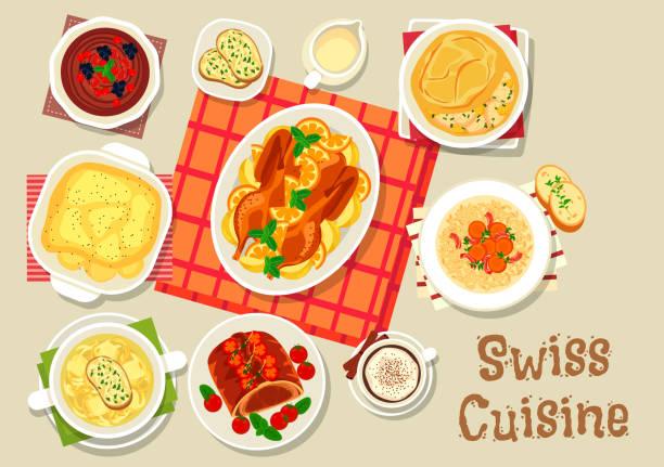 schweizer küche-abendessen mit schokoladen-nachtisch-symbol - raclette stock-grafiken, -clipart, -cartoons und -symbole