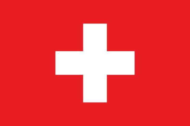 швейцарский флаг, плоская планировка, векторная иллюстрация - швейцария stock illustrations