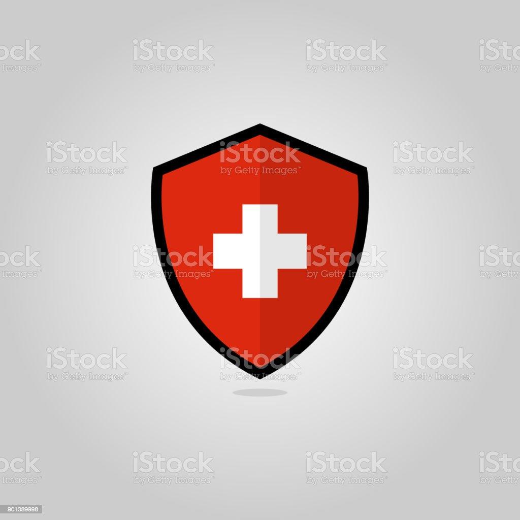 Swiss Flag Badge bouclier plat Vector - Illustration vectorielle