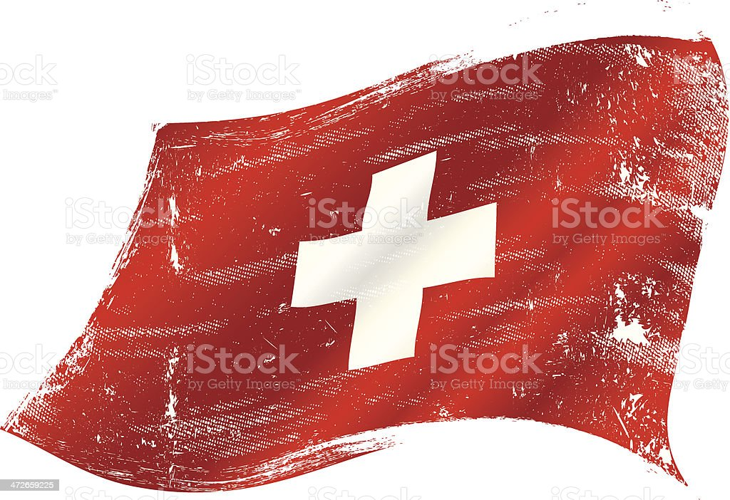 Swiss flag grunge vector art illustration