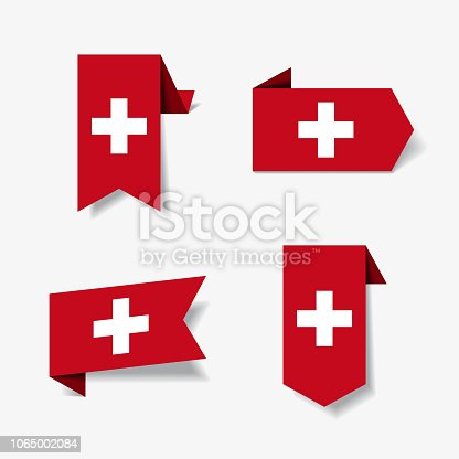 Swiss flag stickers and labels set. Vector illustration.