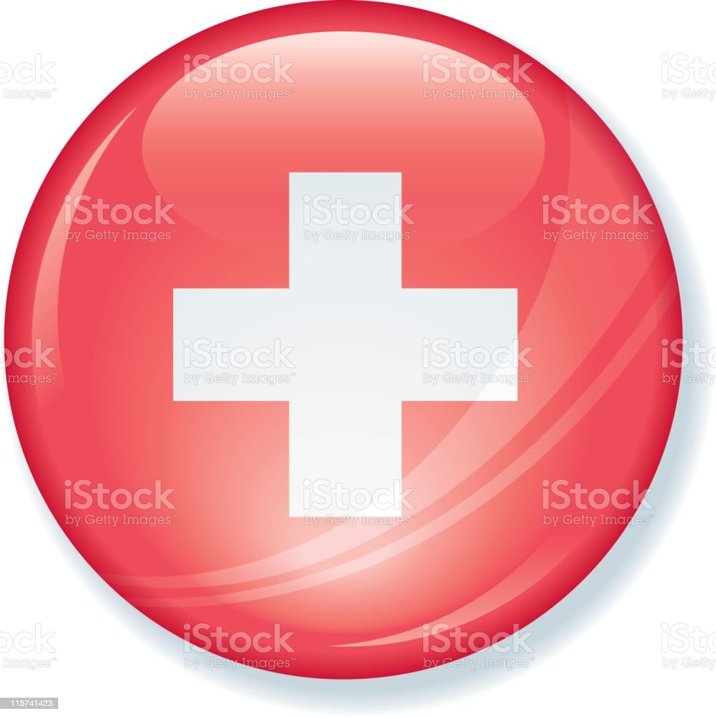 Swiss Flag Super Glossy Button royalty-free stock vector art