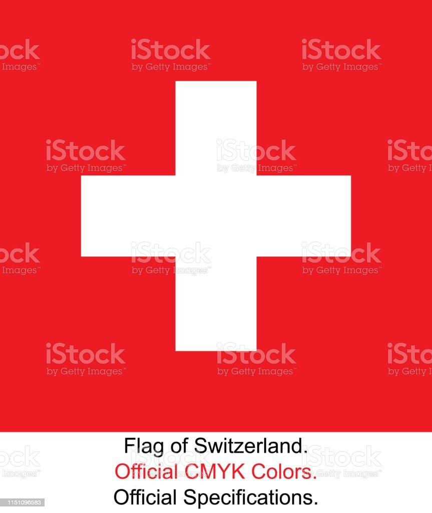 Schweizisk flagga (officiella CMYK-färger, officiella specifikationer) - Royaltyfri Auktoritet vektorgrafik
