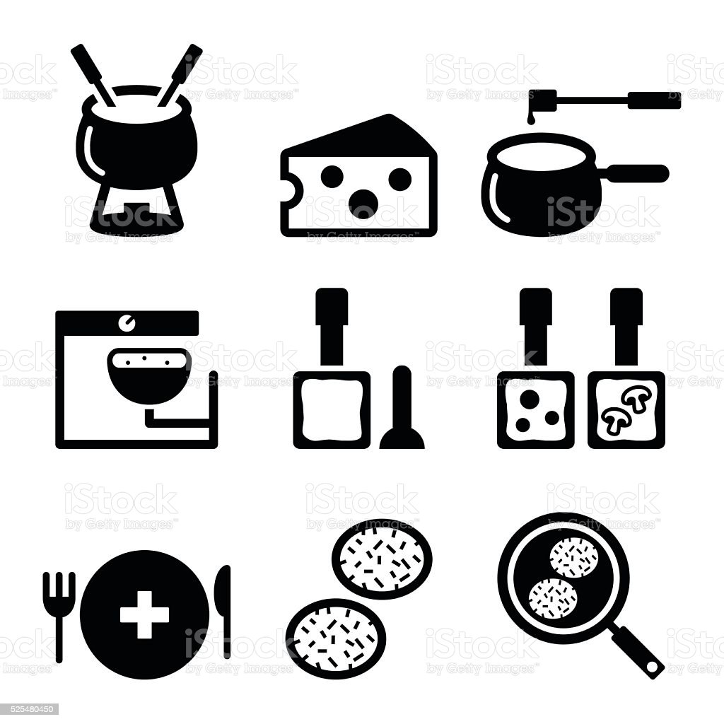 Swiss food and dishes icons - fondue, raclette, rösti, cheese vector art illustration