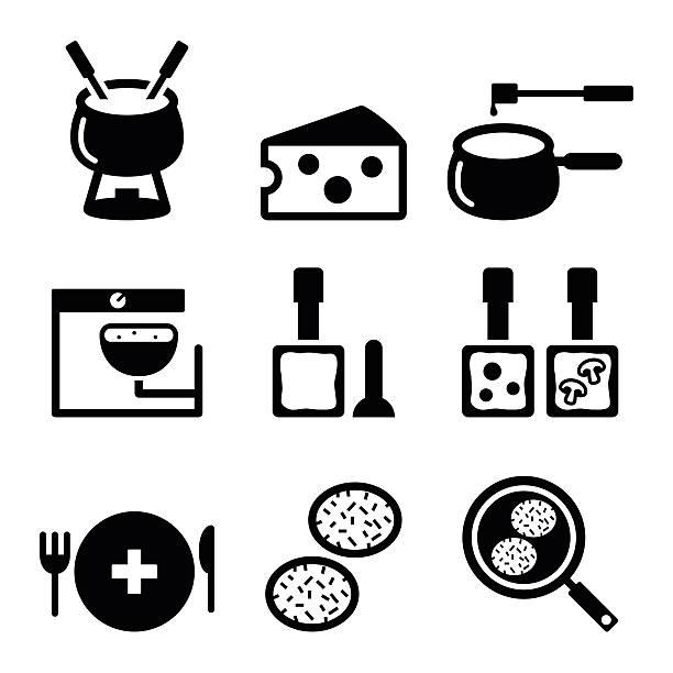 illustrations, cliparts, dessins animés et icônes de suisse mets et plats icônes-fondue, raclette, une galette de rösti, fromage - raclette