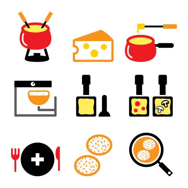 schweizer speisen und gerichte vektor-ikonen set - fondue, raclette, rösti, käse-design, schweizer gerichte - raclette stock-grafiken, -clipart, -cartoons und -symbole