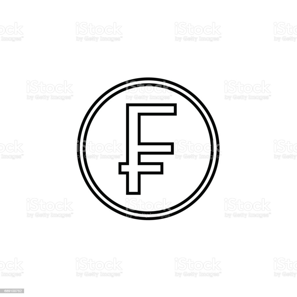 Swiss franc coin line icon, finance and business vector art illustration