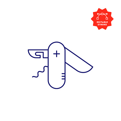 Swiss Knife Line Icon with Editable Stroke and Pixel Perfect.