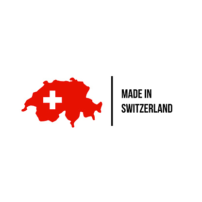 Swiss made icon with Switzerland map and flag for premium brand quality label. Vector Swiss made product tag for package design