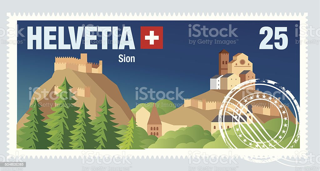 Swiss Postage vector art illustration