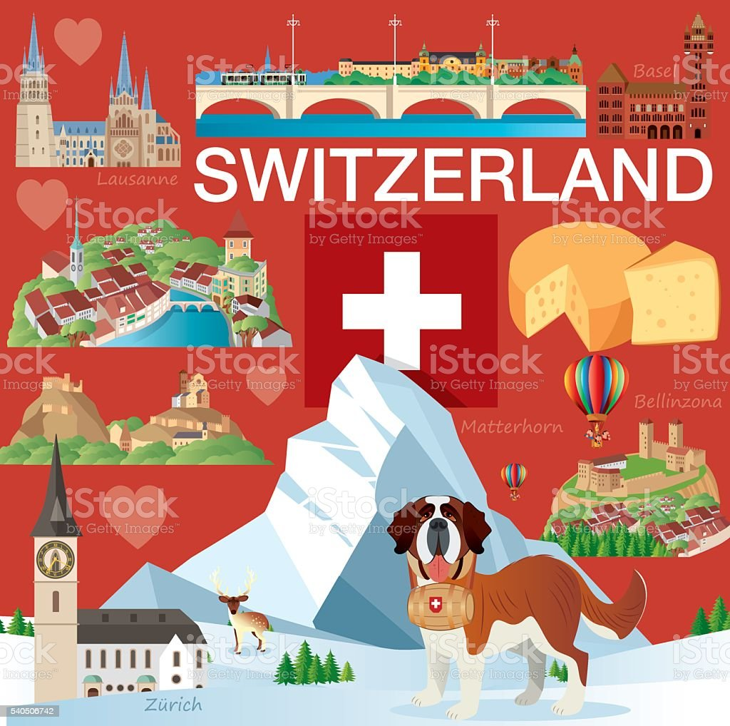 Swiss Travel vector art illustration