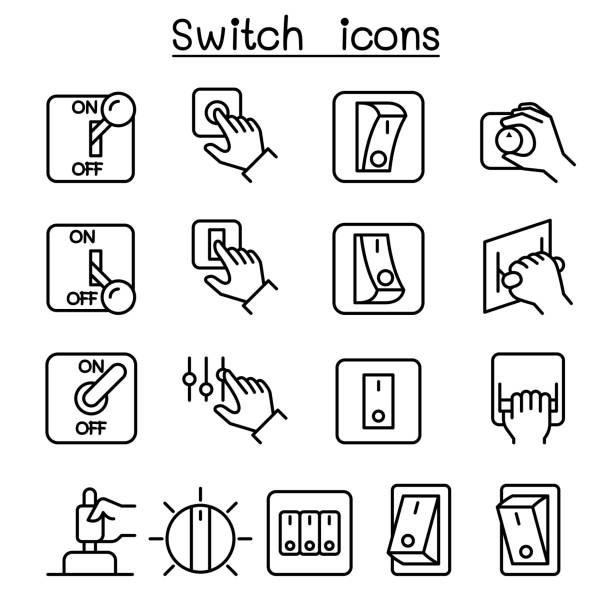 ilustraciones, imágenes clip art, dibujos animados e iconos de stock de cambiar conjunto de iconos de estilo de línea fina - interruptor
