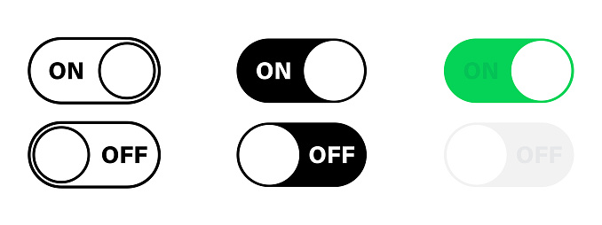 Switch toggle set. Toggle switch buttons. Power button set. On and off swithers set. Mobile interface design. Vector web button. Vector graphic.