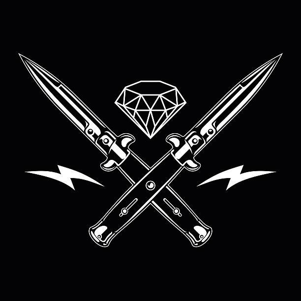 Switchblade knife and diamond Illustration of switchblade and diamond. Perfect for any design needs switchblade stock illustrations