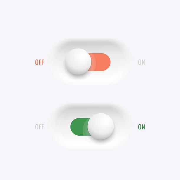 ilustraciones, imágenes clip art, dibujos animados e iconos de stock de interruptores on-off de botón - interruptor