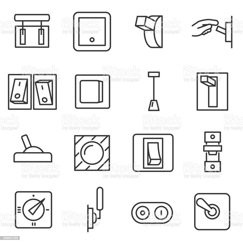 Switches icon set. Editable stroke