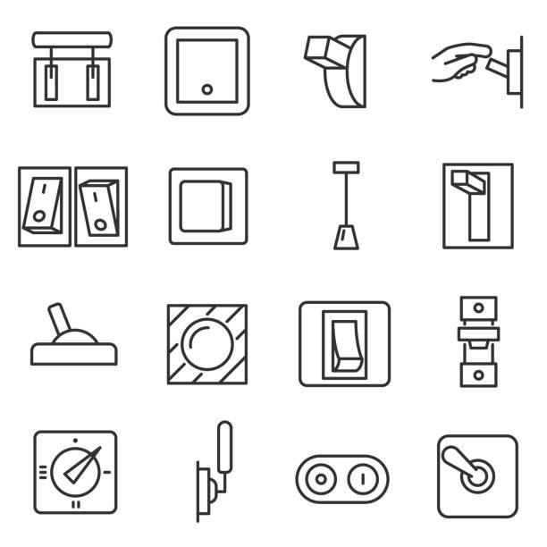 ilustraciones, imágenes clip art, dibujos animados e iconos de stock de conjunto de iconos de interruptores. movimiento editable - interruptor