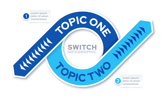 Two subject topic switch swap change reverse infographic template design.