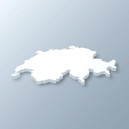 Switzerland 3D Map on gray background