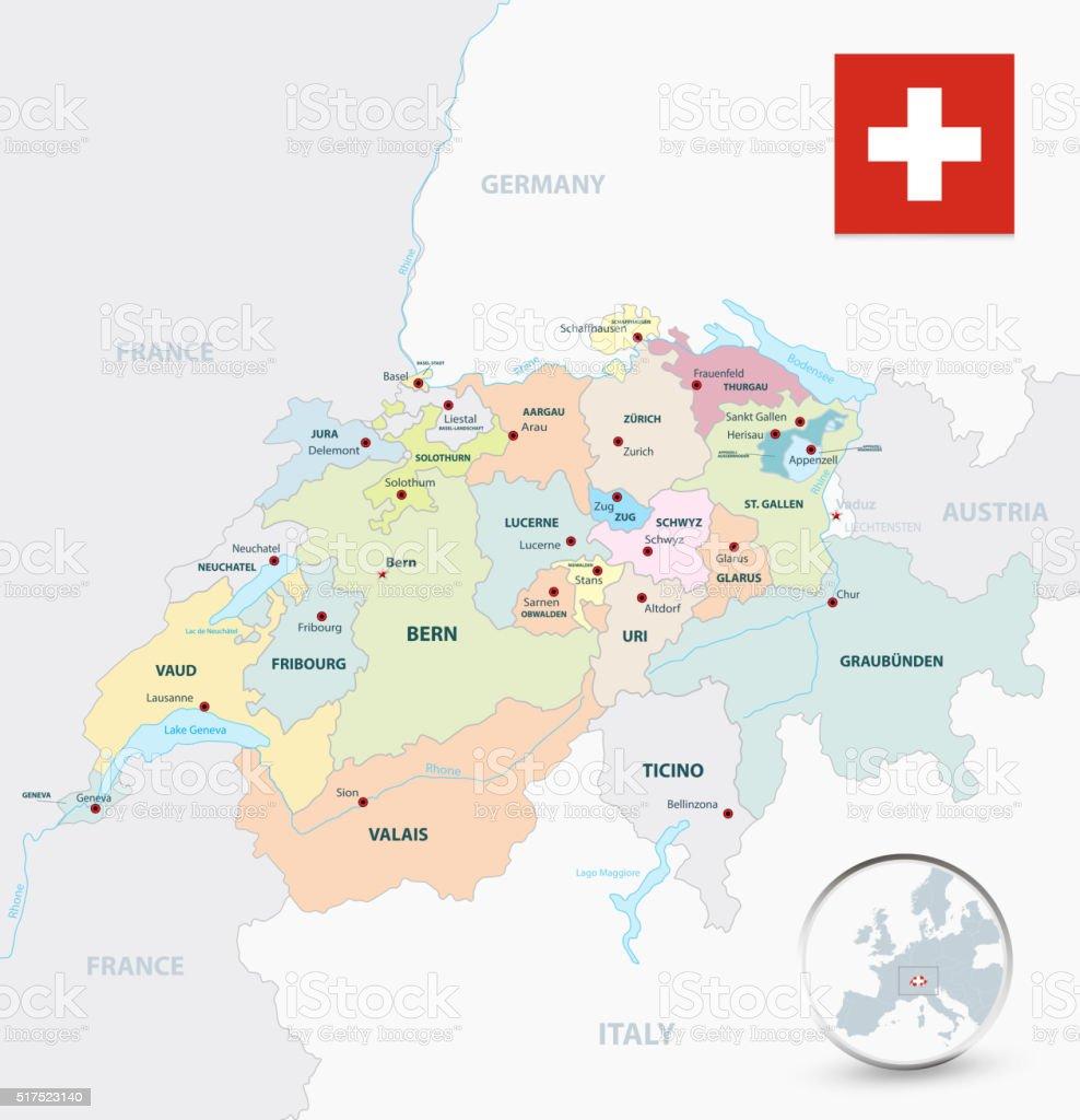 Bodensee Karte Schweiz.Schweiz Verwaltungsbezirke Karte Stock Vektor Art Und Mehr