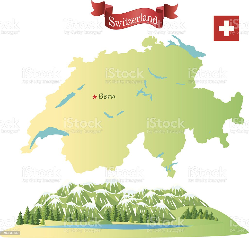 Switzerland, Alps vector art illustration