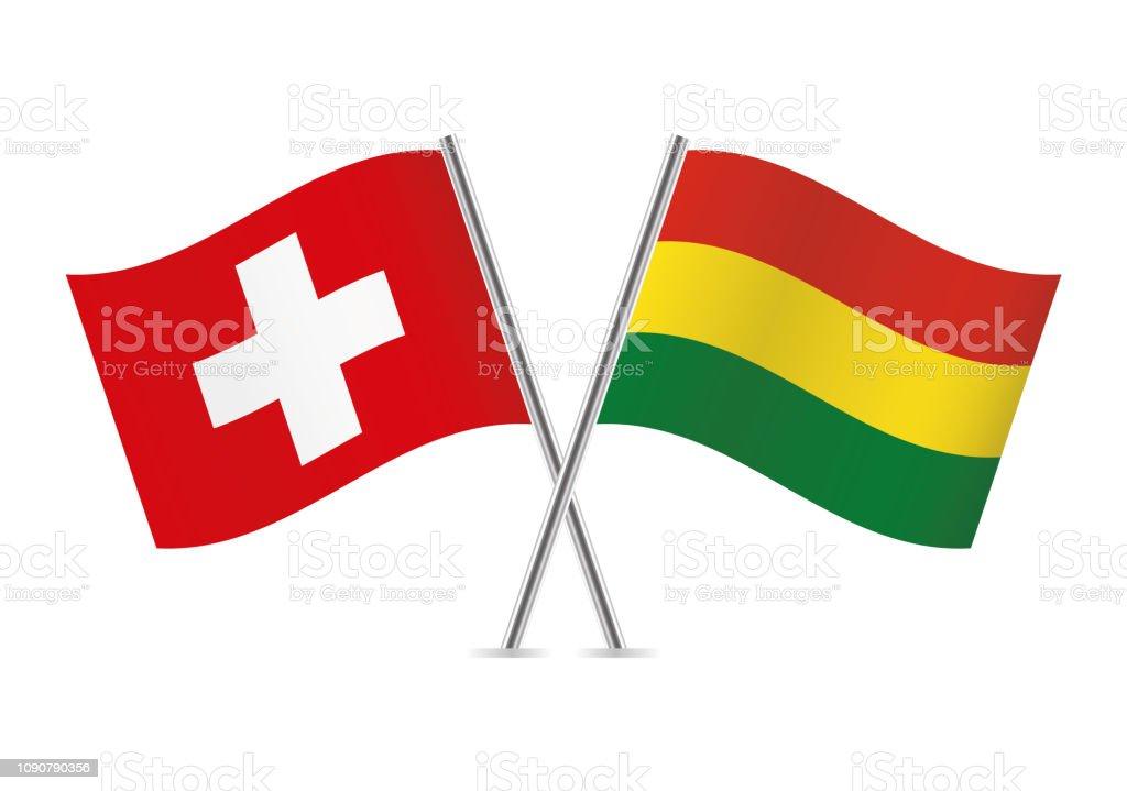Banderas Suiza y Bolivia. Ilustración de vector. - ilustración de arte vectorial