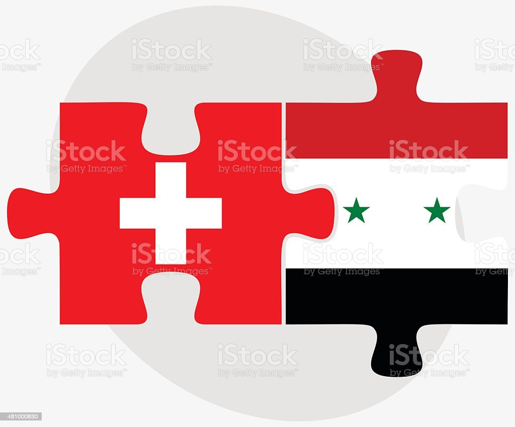 Switzerland and Syria Flags vector art illustration
