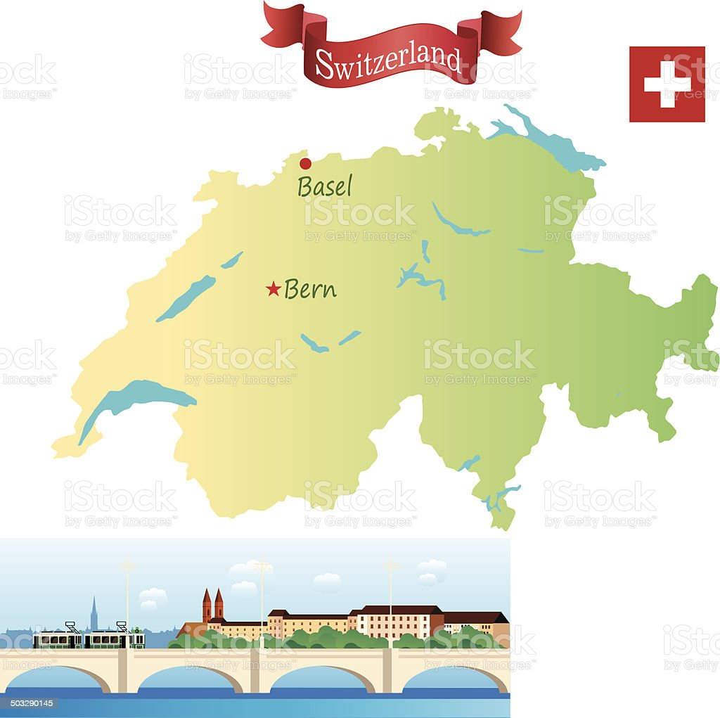 Switzerland, Basel vector art illustration