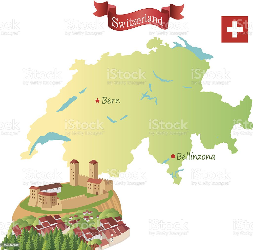 Switzerland, Bellinzona vector art illustration