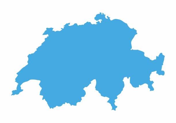 switzerland blue map on white background. vector illustration - швейцария stock illustrations