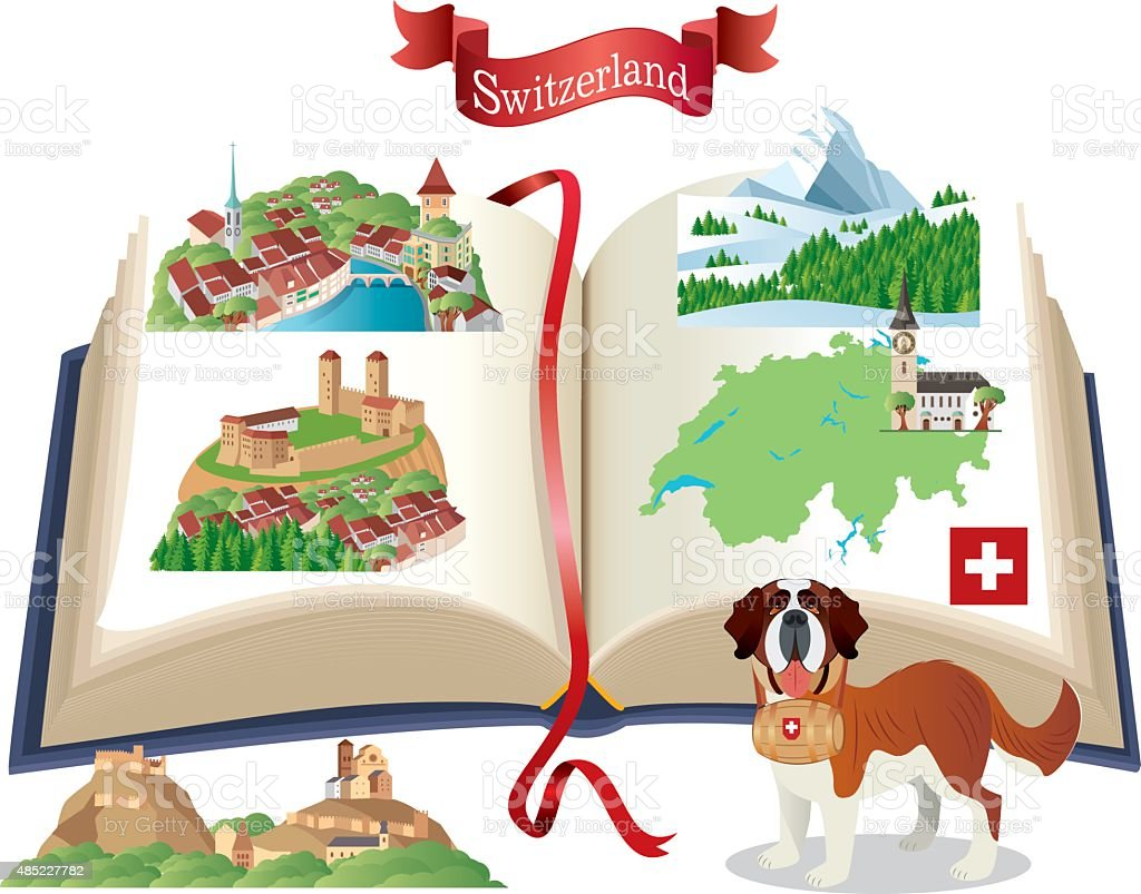 Switzerland Book vector art illustration
