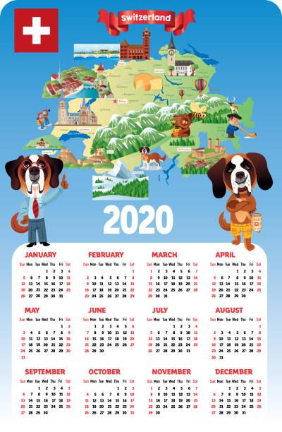 switzerland calendar 2020, winterthur,herisau, appenzell, zürichsee, liestal, aarau, olten, porrentruy, delemont, solothurn, biel, zug, niederurnen, glarus, schwyz, neuchatel, fribourg, thun, burgdorf, altdort, andermatt, gletsch, locarno, brig, sierre - locarno stock-grafiken, -clipart, -cartoons und -symbole