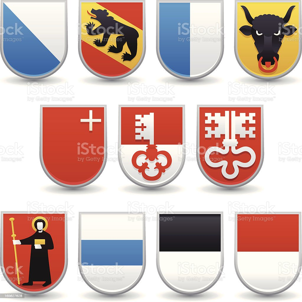 Switzerland Cantons Coats of Arms vector art illustration
